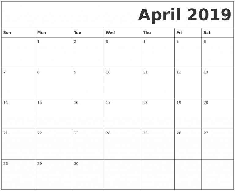 Blank Calendar Template April 2019