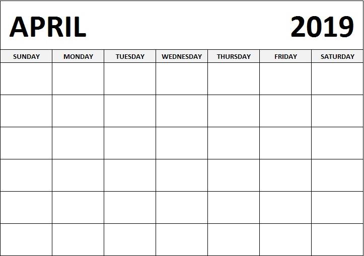 Blank Calendar Template For April 2019