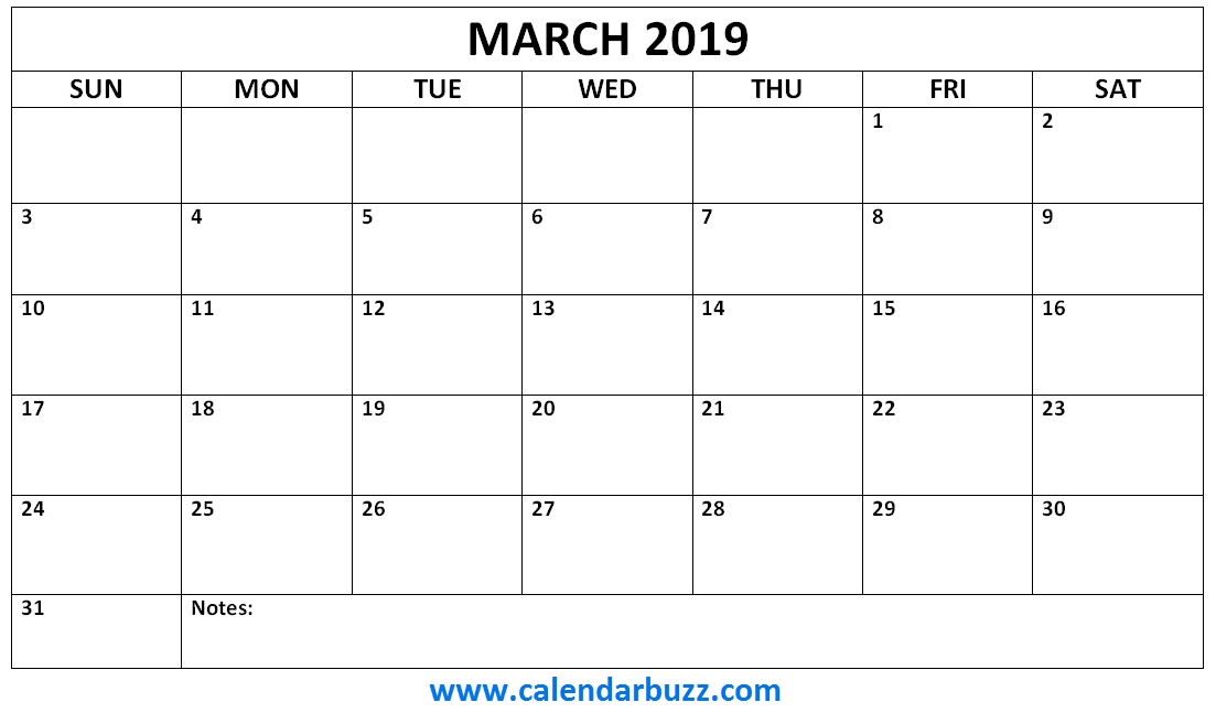 Blank March 2019 Calendar Document
