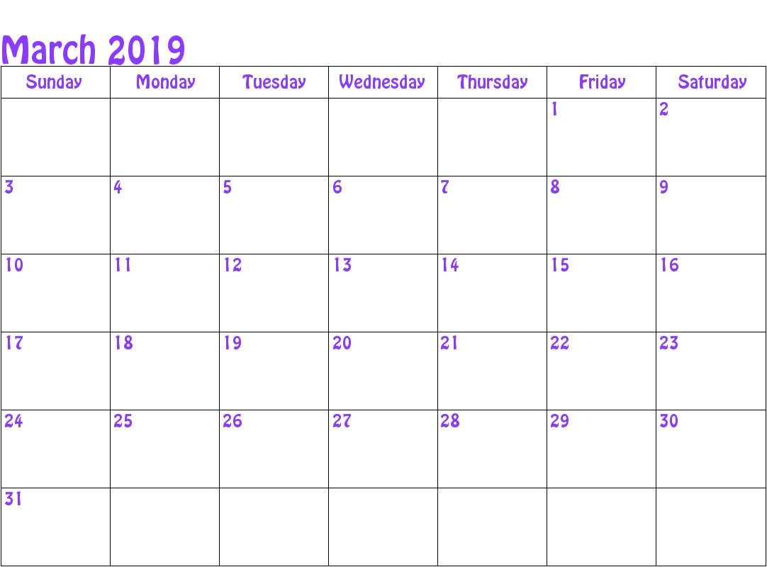 Blank March 2019 Calendar Editable
