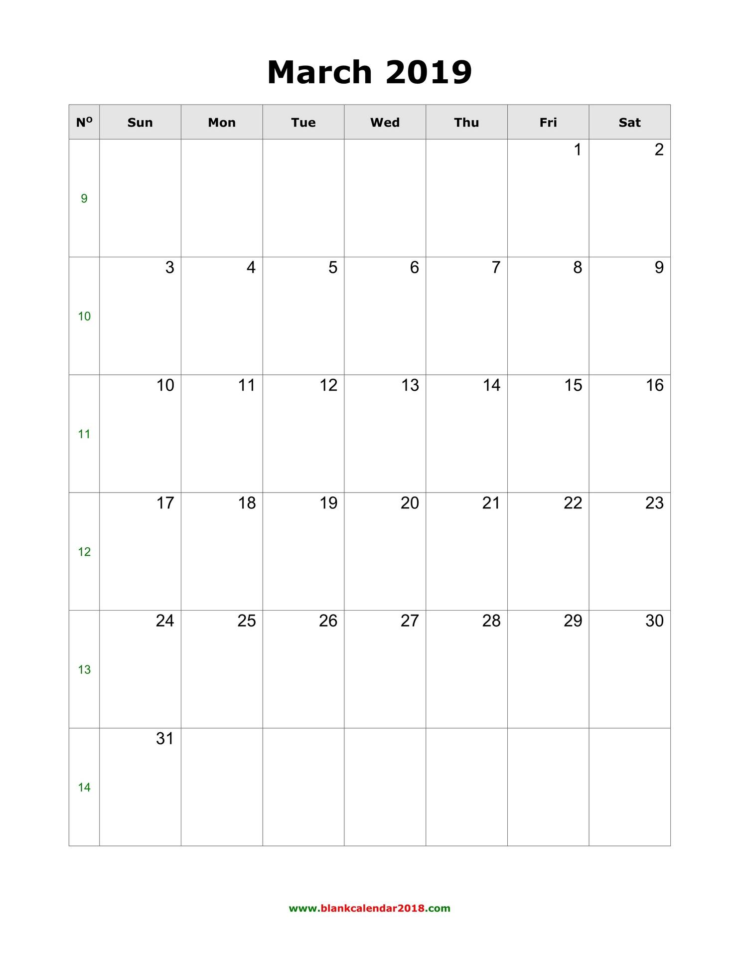 Blank March 2019 Calendar Portrait