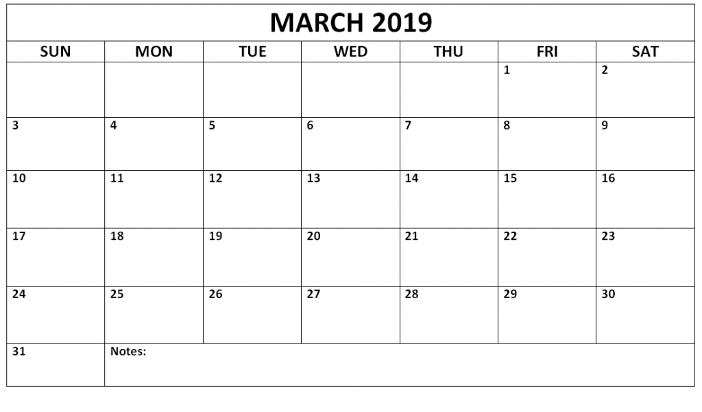Blank March 2019 Calendar Printable Template