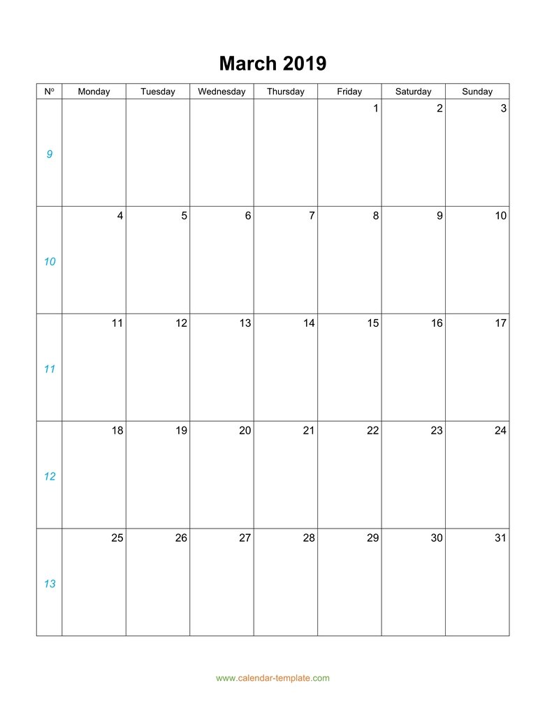 Blank March 2019 Calendar Vertical