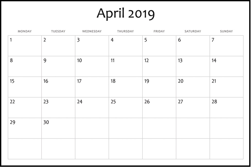Blank Monthly Calendar April 2019