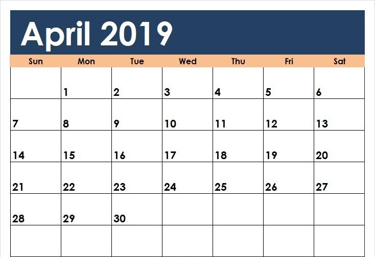 Calendar Template April 2019
