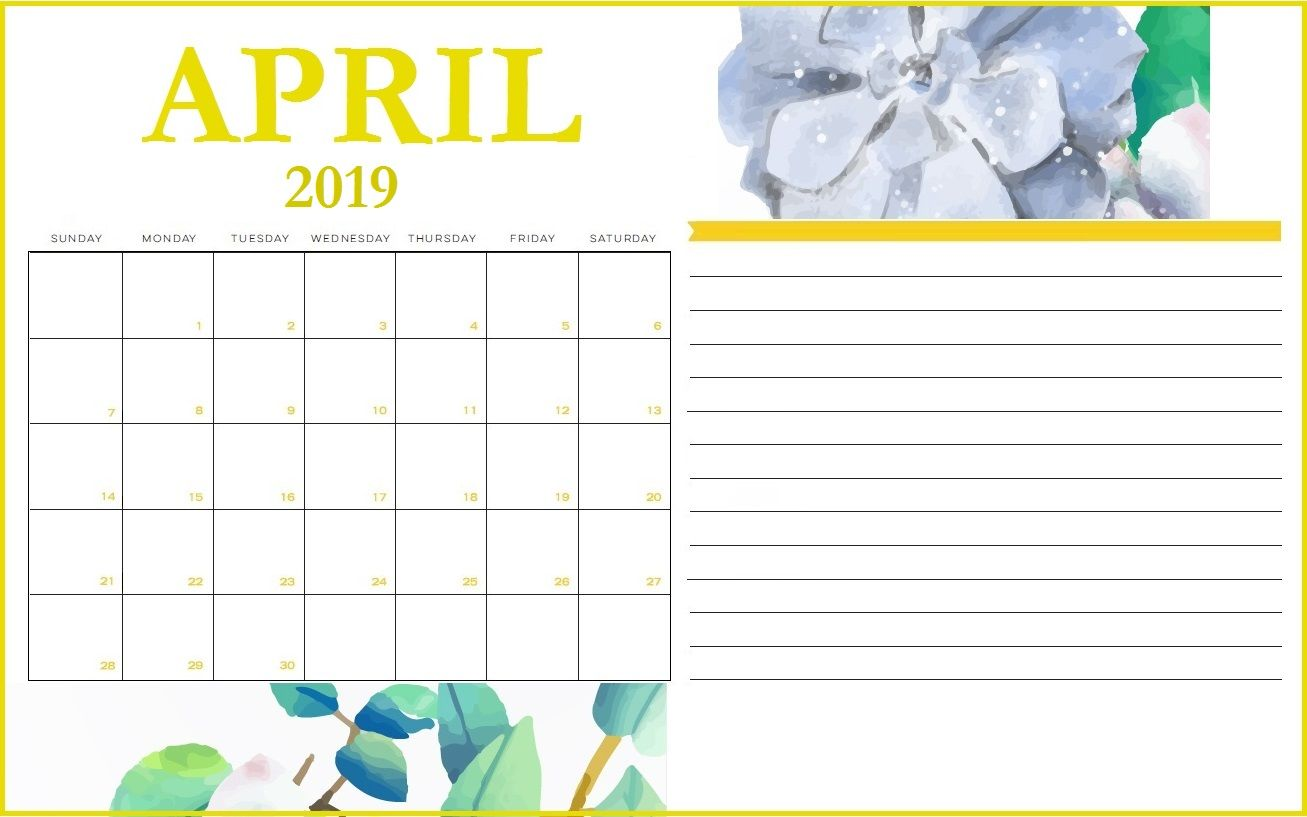 Cute April 2019 Calendar With Notes