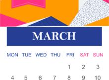 Cute March 2019 Calendar Vertical