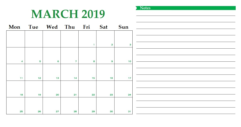 Desk March 2019 Calendar