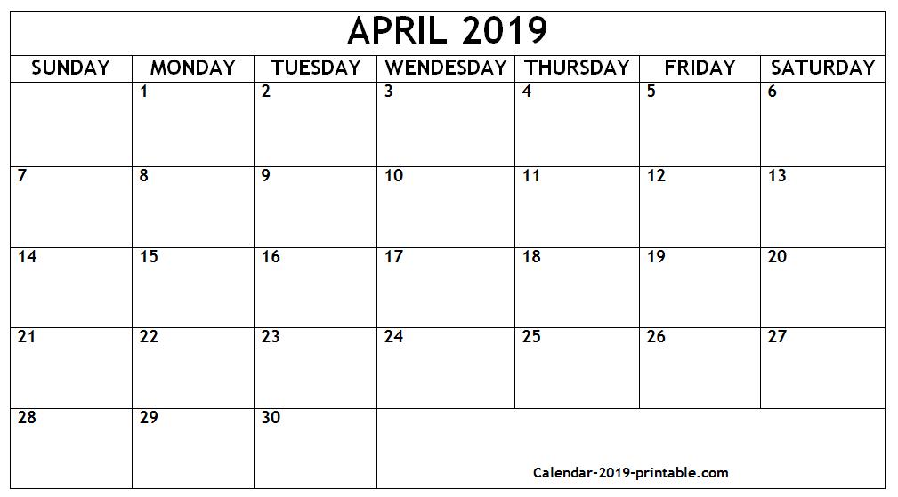 Editable April 2019 Blank Calendar