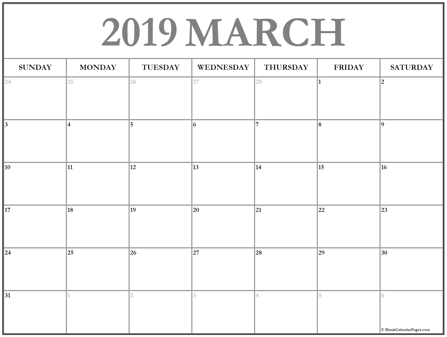 Editable Calendar Template March 2019