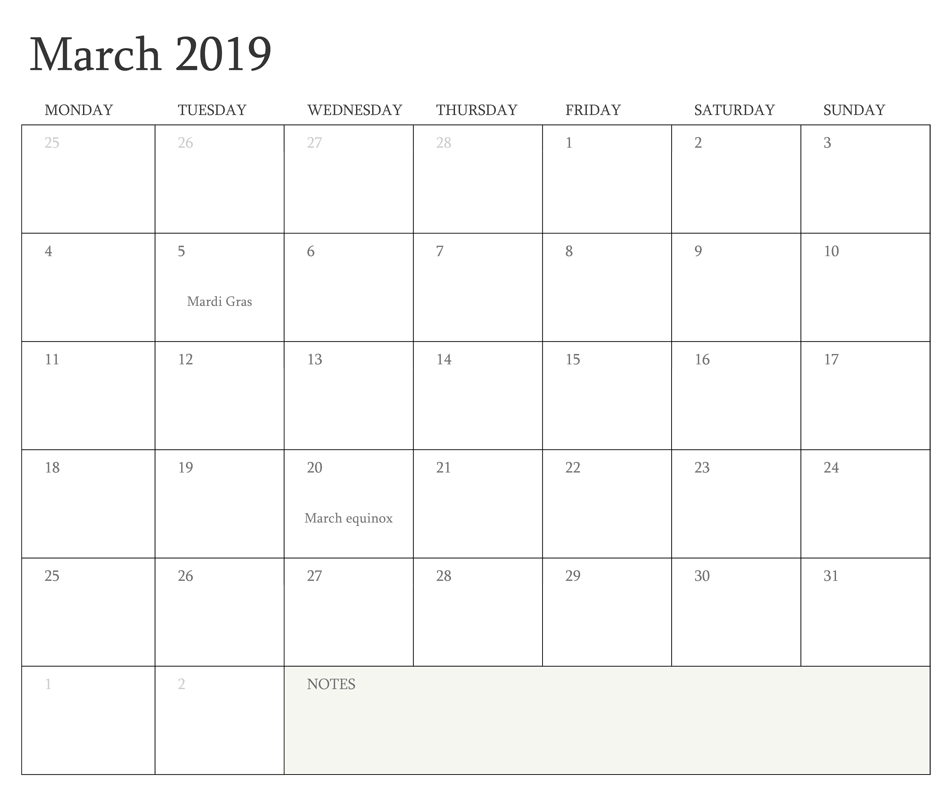 Editable March 2019 Calendar Word