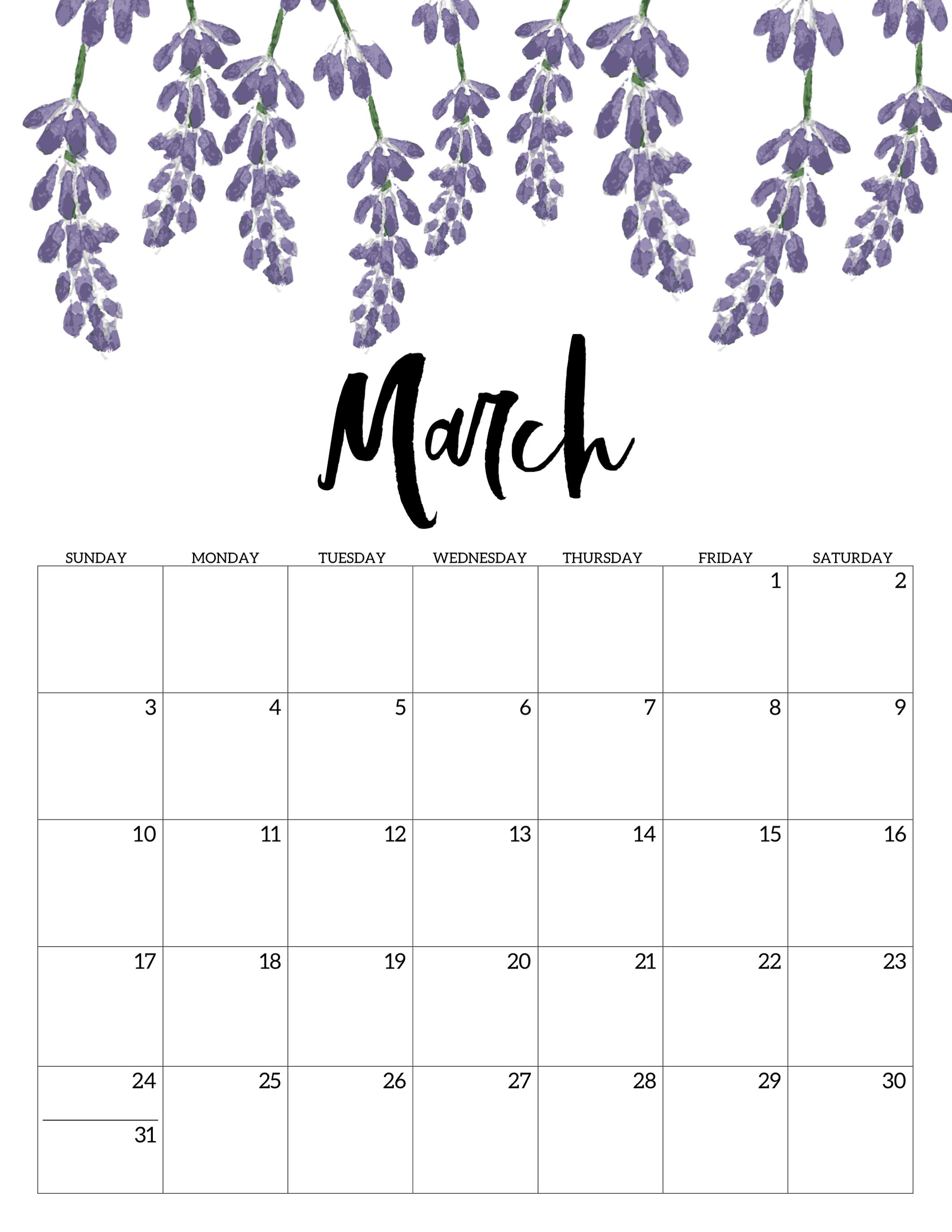Floral March 2019 Calendar Portrait