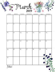 Floral March 2019 Calendar Vertical