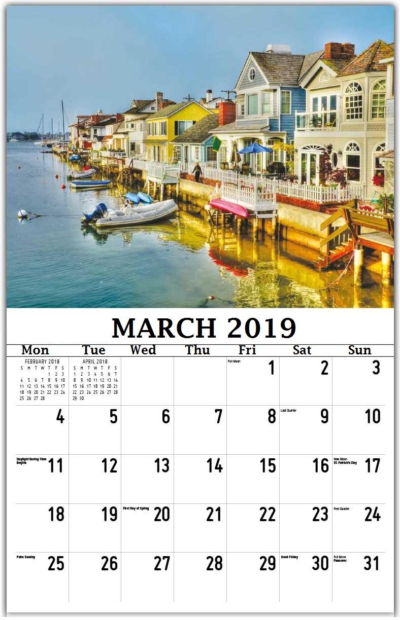 Free March 2019 Calendar Wall