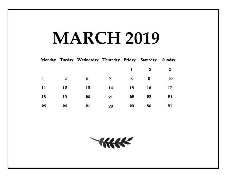 Free March 2019 Desk Calendar