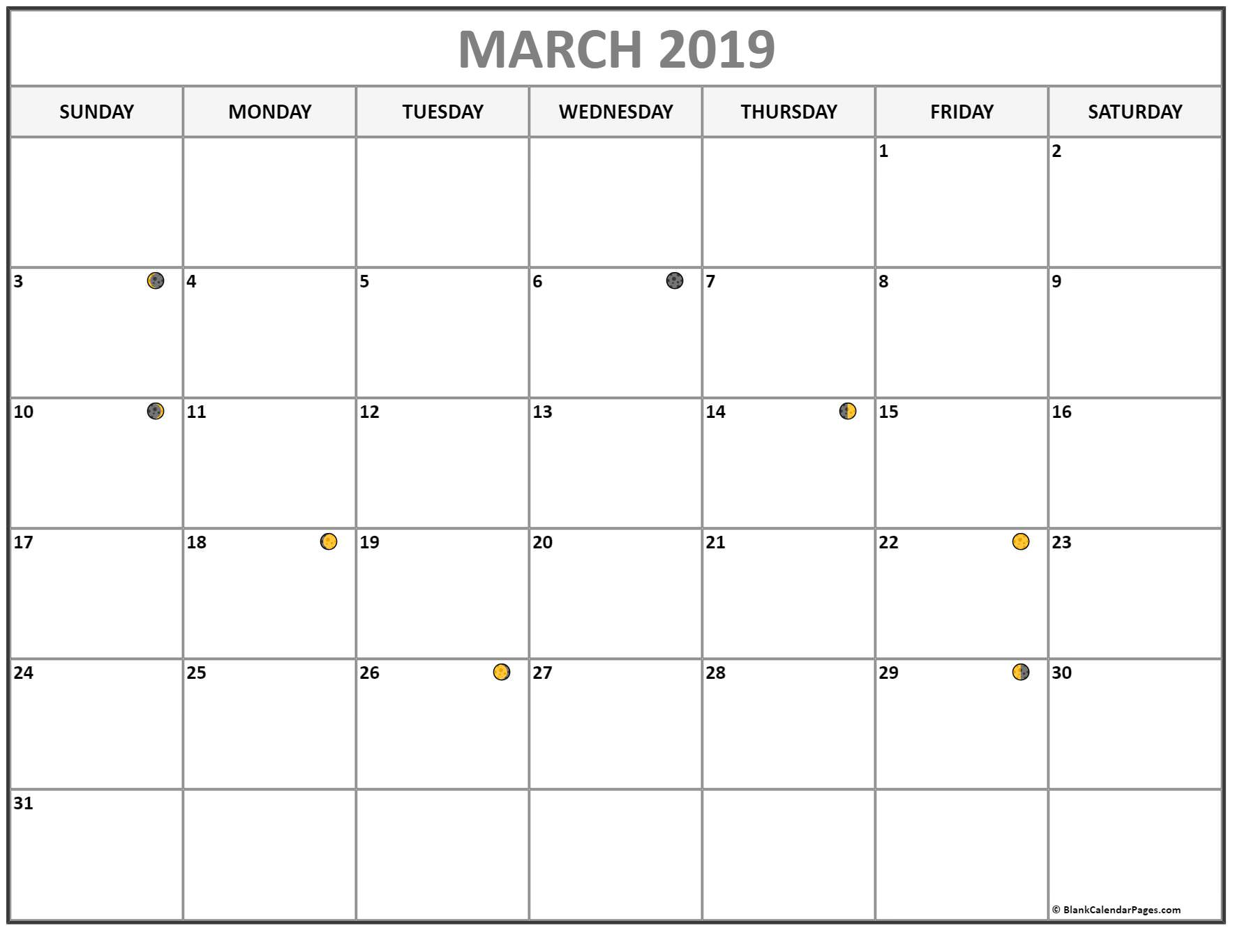 Lunar Moon Phases March 2019 Calendar