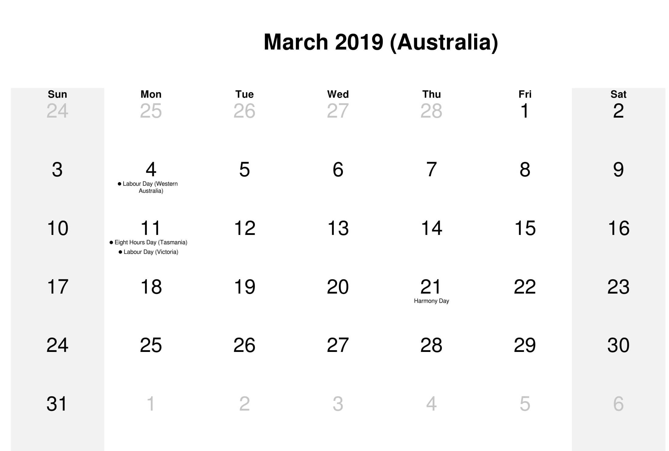 March 2019 Australia Holidays Calendar