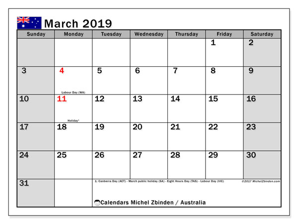 March 2019 Calendar Australia With Holidays