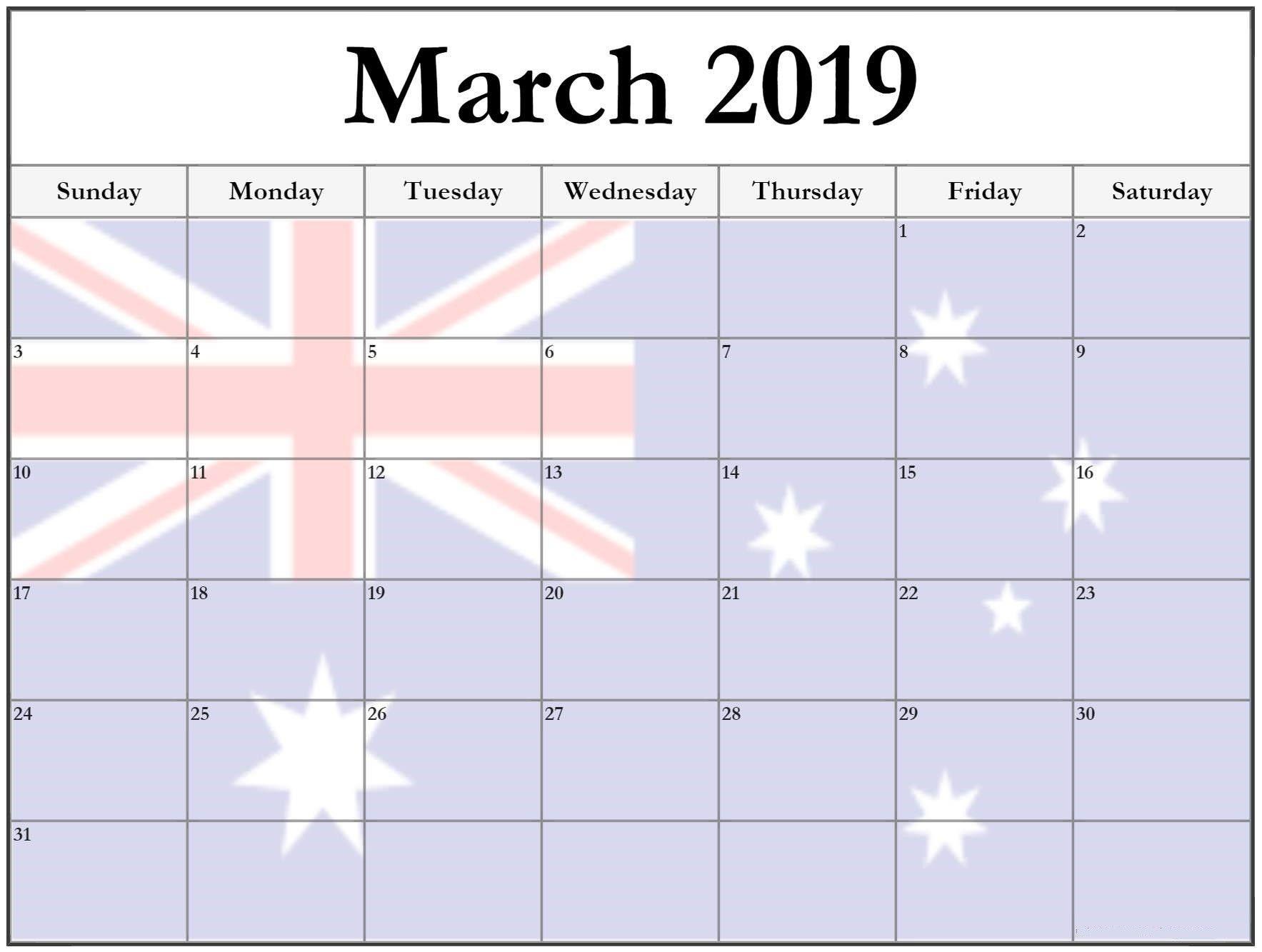 March 2019 Calendar Australia