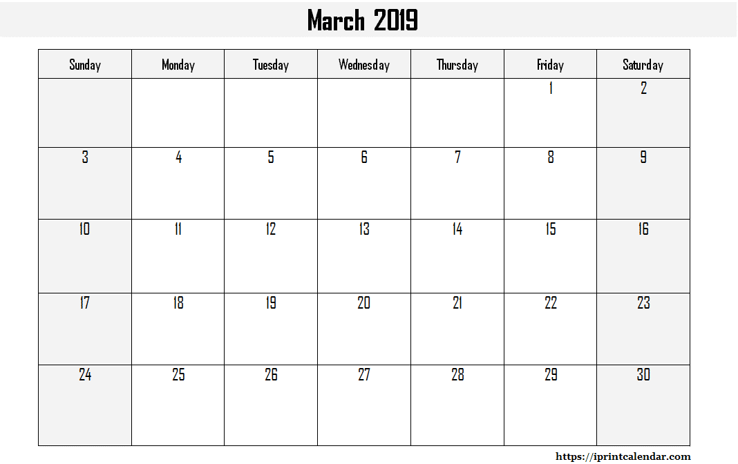 March 2019 Calendar Document Word