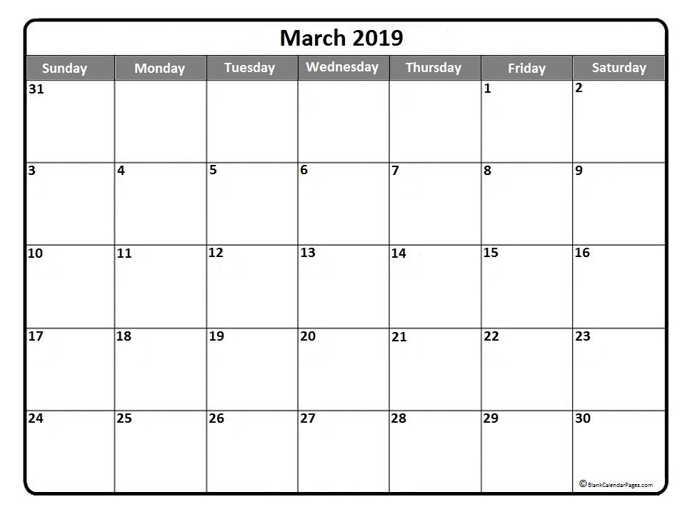 March 2019 Calendar Document