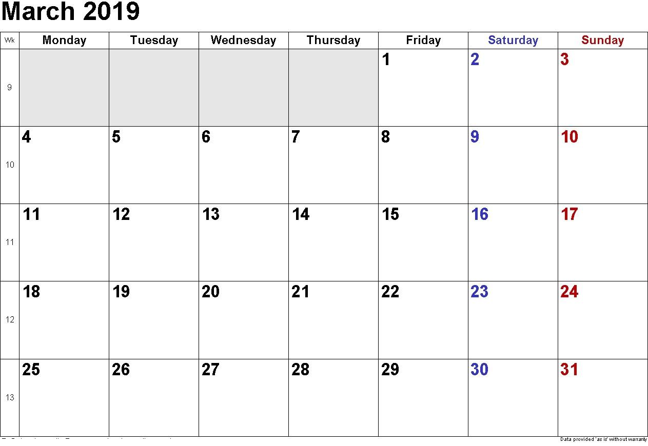 March 2019 Calendar Editable