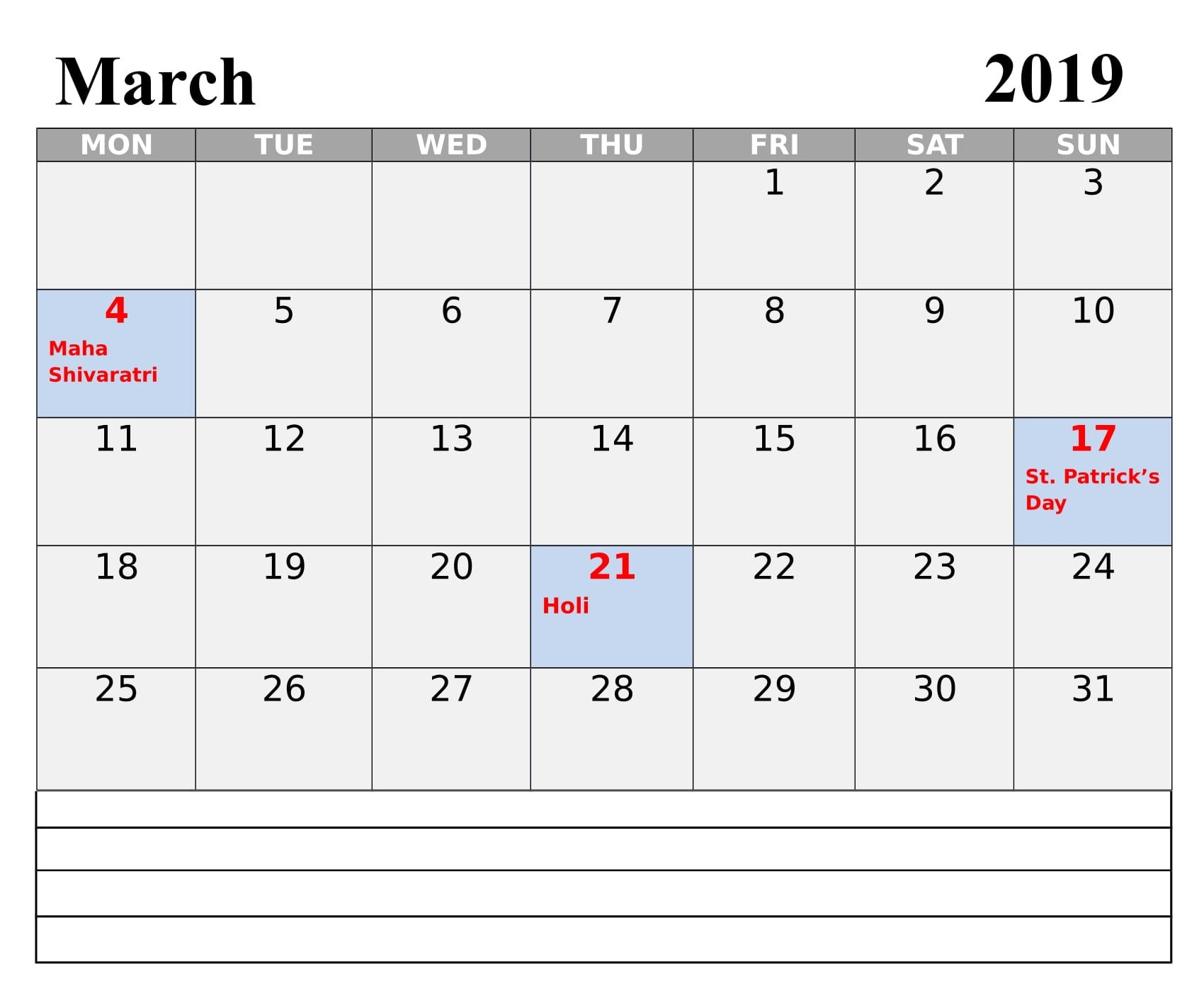 March 2019 Calendar India With Holidays