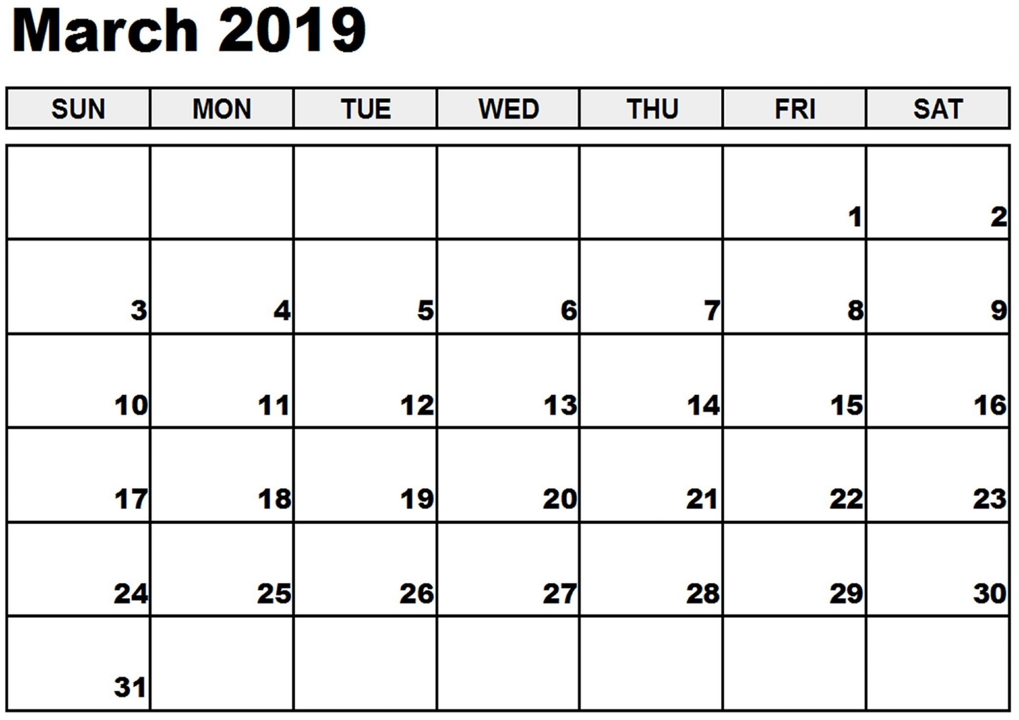 March 2019 Calendar Landscape Printable