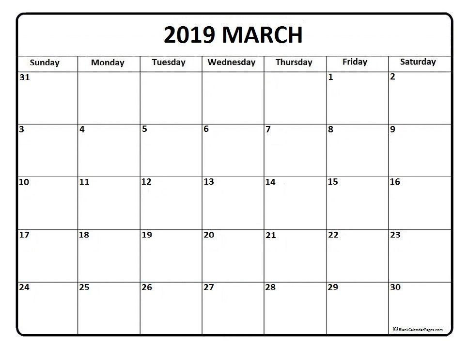 March 2019 Calendar Malaysia Printable