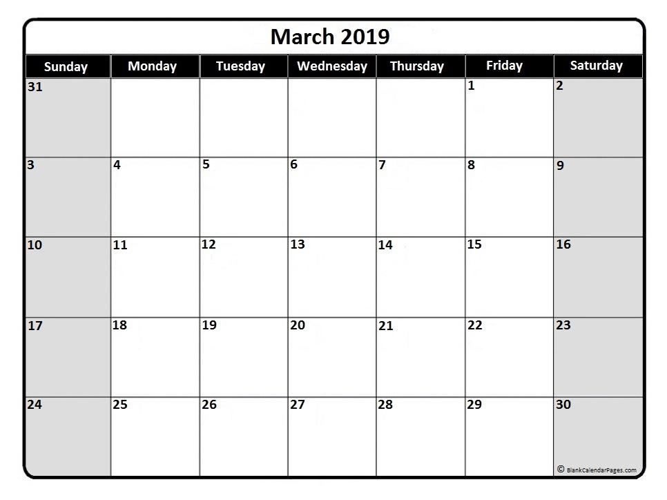 March 2019 Calendar Malaysia