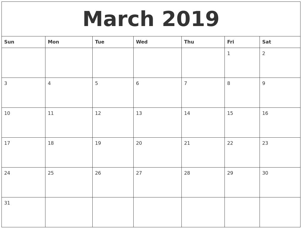 March 2019 Calendar Australia With Holidays