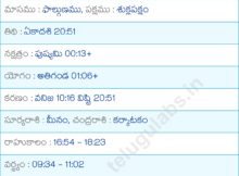 March 2019 Calendar Telugu Panchang