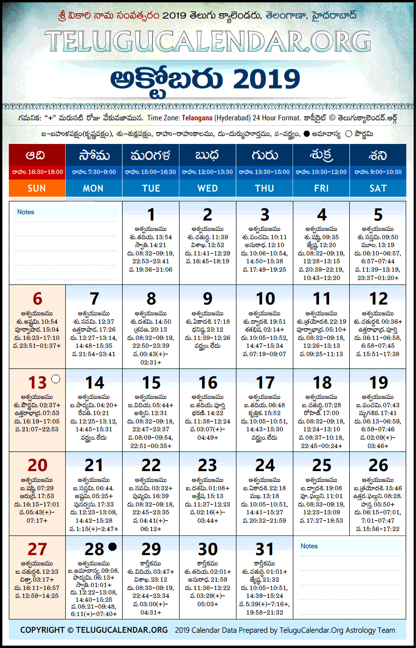 March 2019 Calendar Telugu