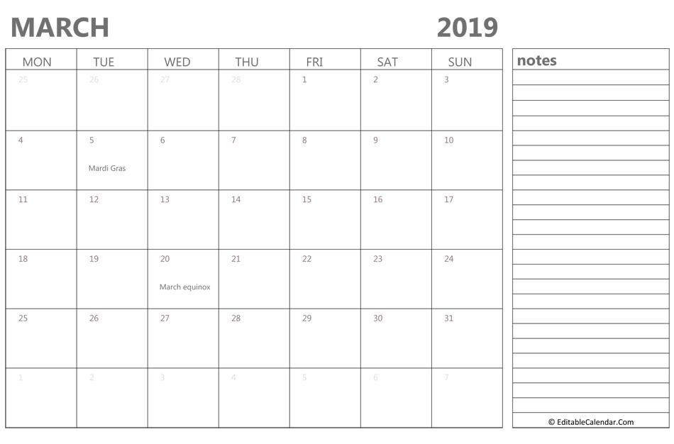 March 2019 Editable Calendar