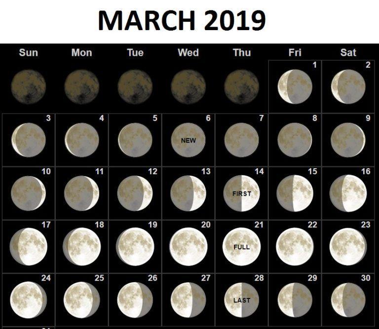 March 2019 Full Moon Calendar