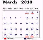 March 2019 India Holidays Calendar
