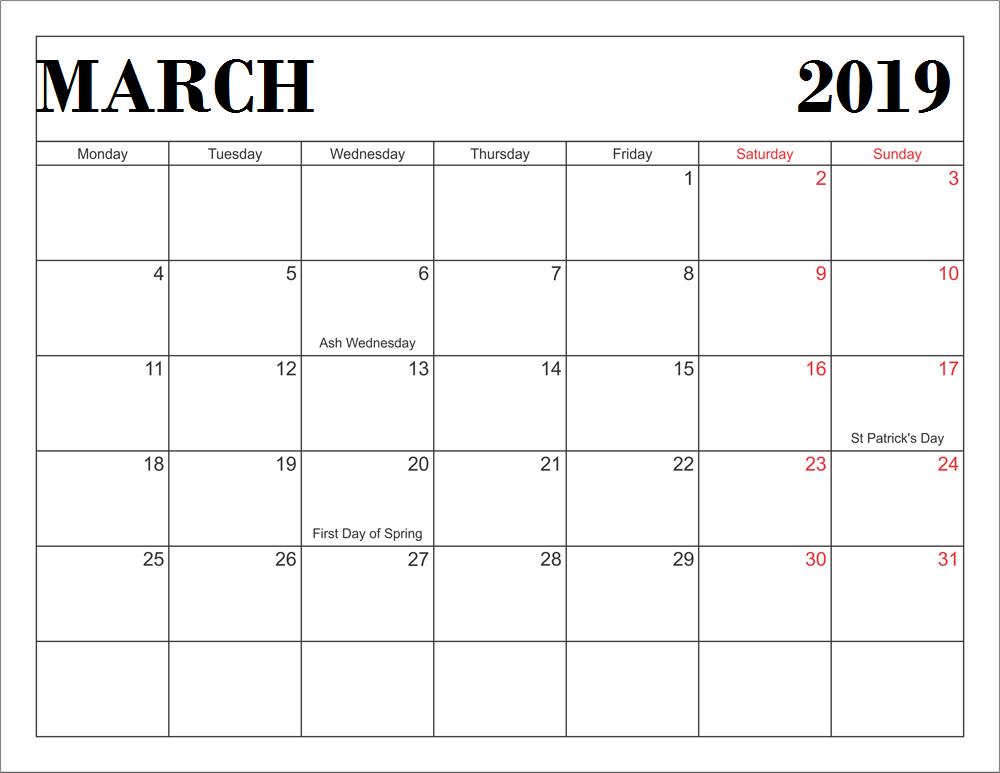 March 2019 Indian Calendar
