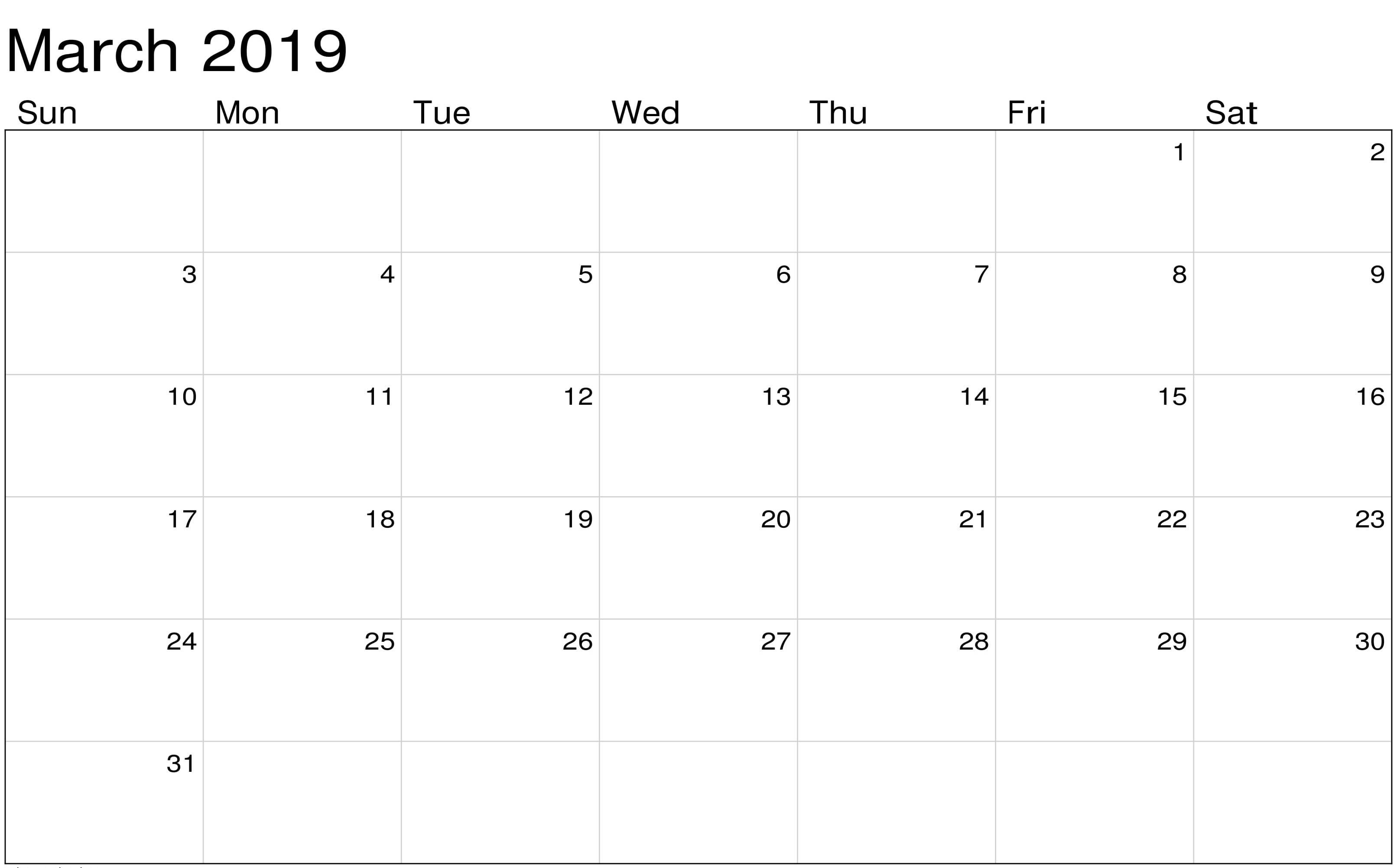 March 2019 Landscape Calendar