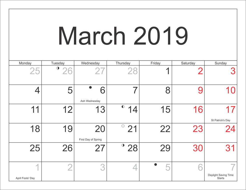 March 2019 Calendar Moon Phases