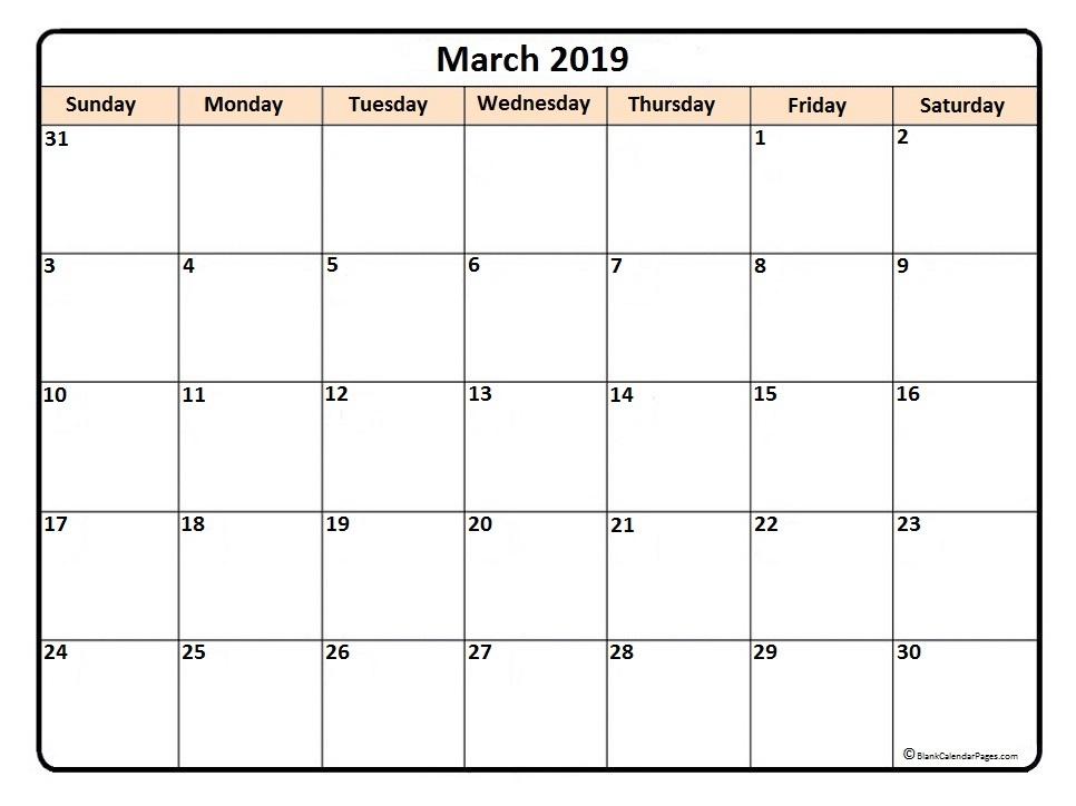 March 2019 Printable Template Calendar