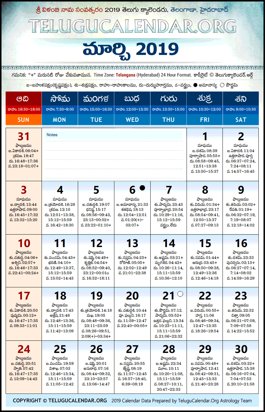 March 2019 Telugu Calendar