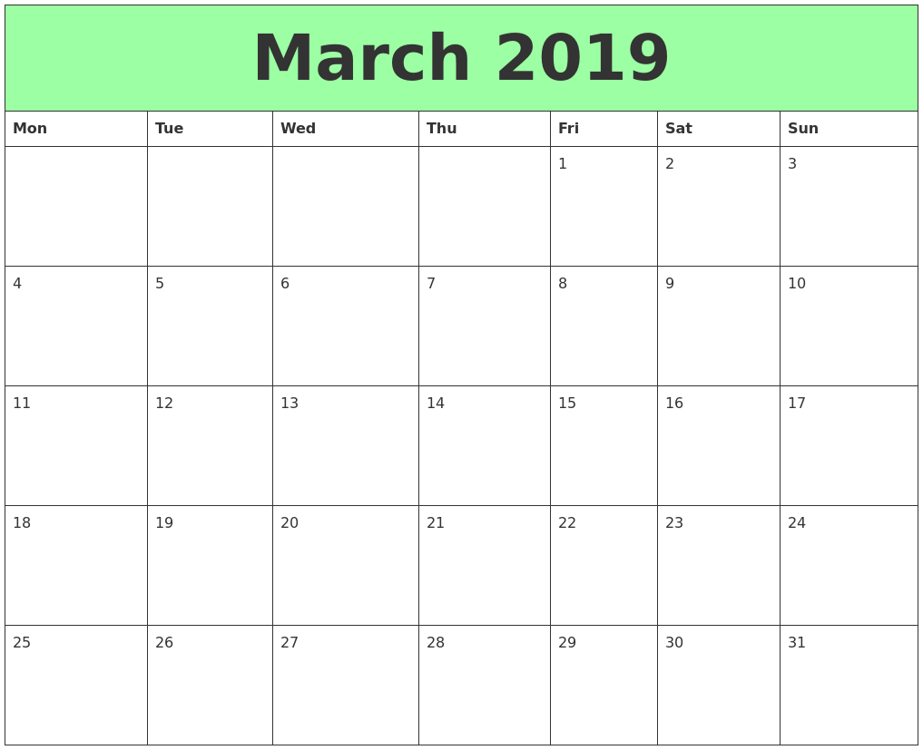 March 2019 Tumblr Calendar