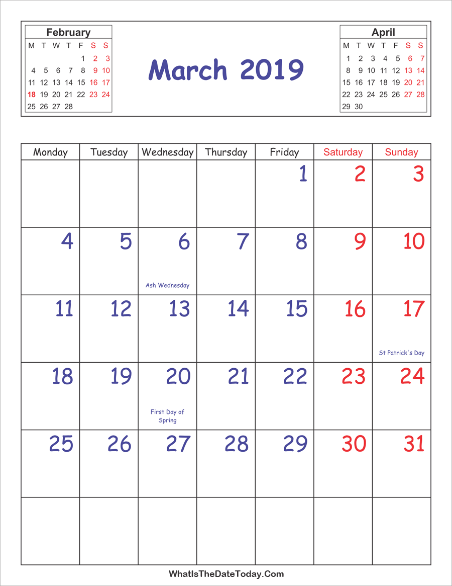 March 2019 Vertical Calendar With Holidays