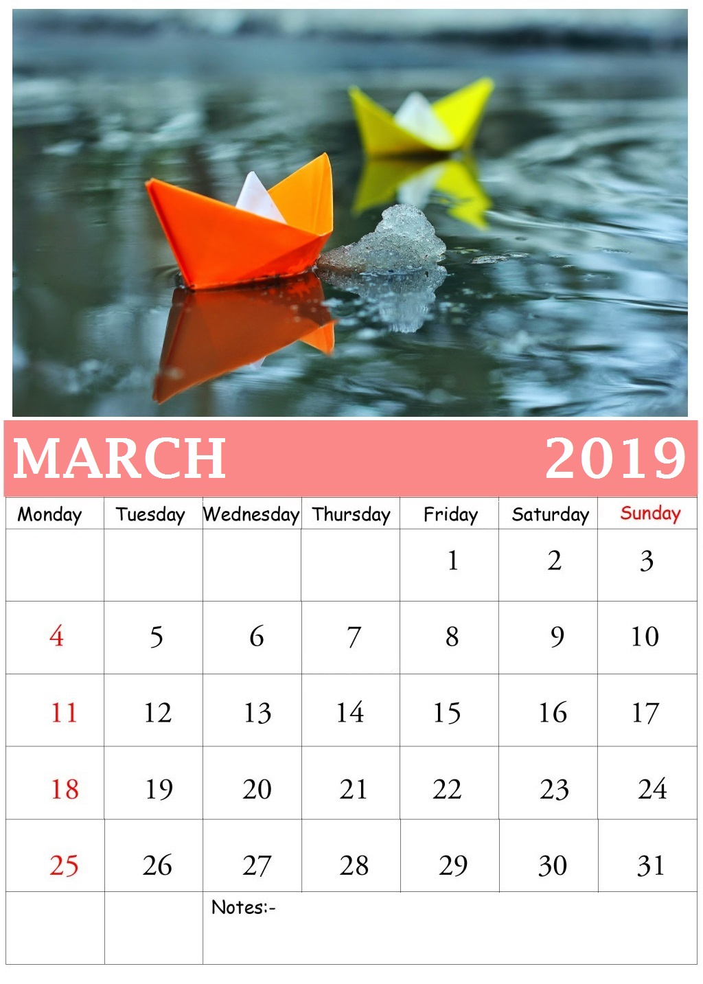 March 2019 Wall Calendar With Photos