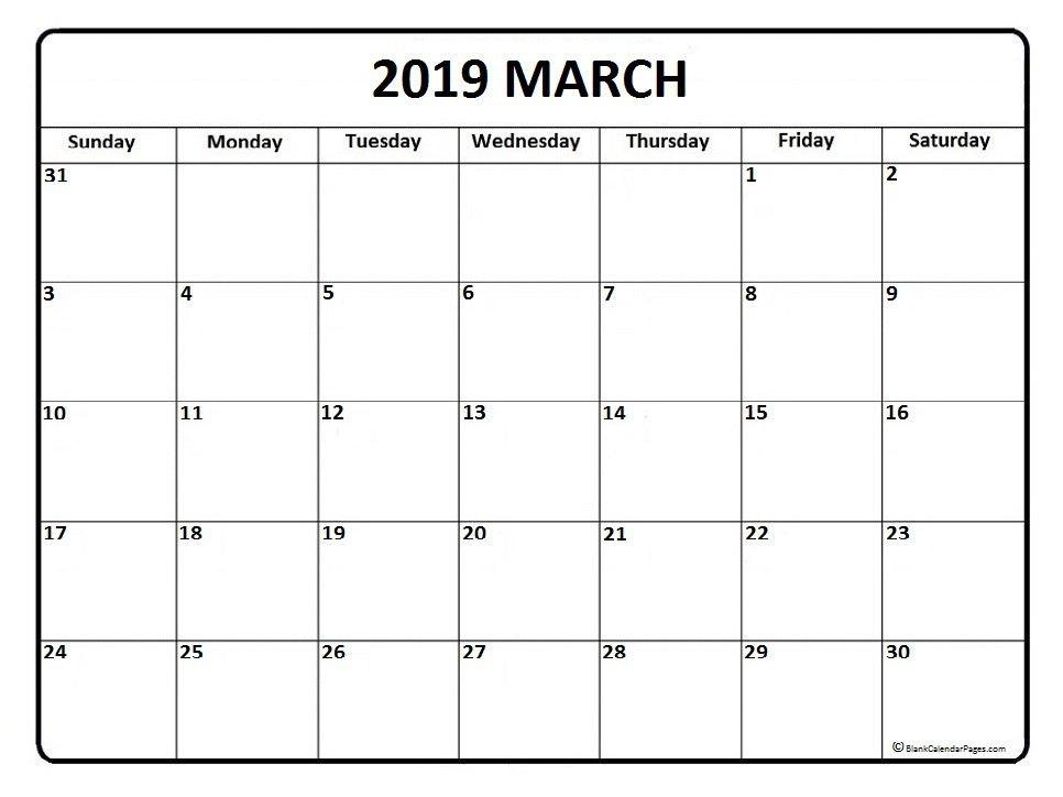 March Calendar 2019 Printable Template