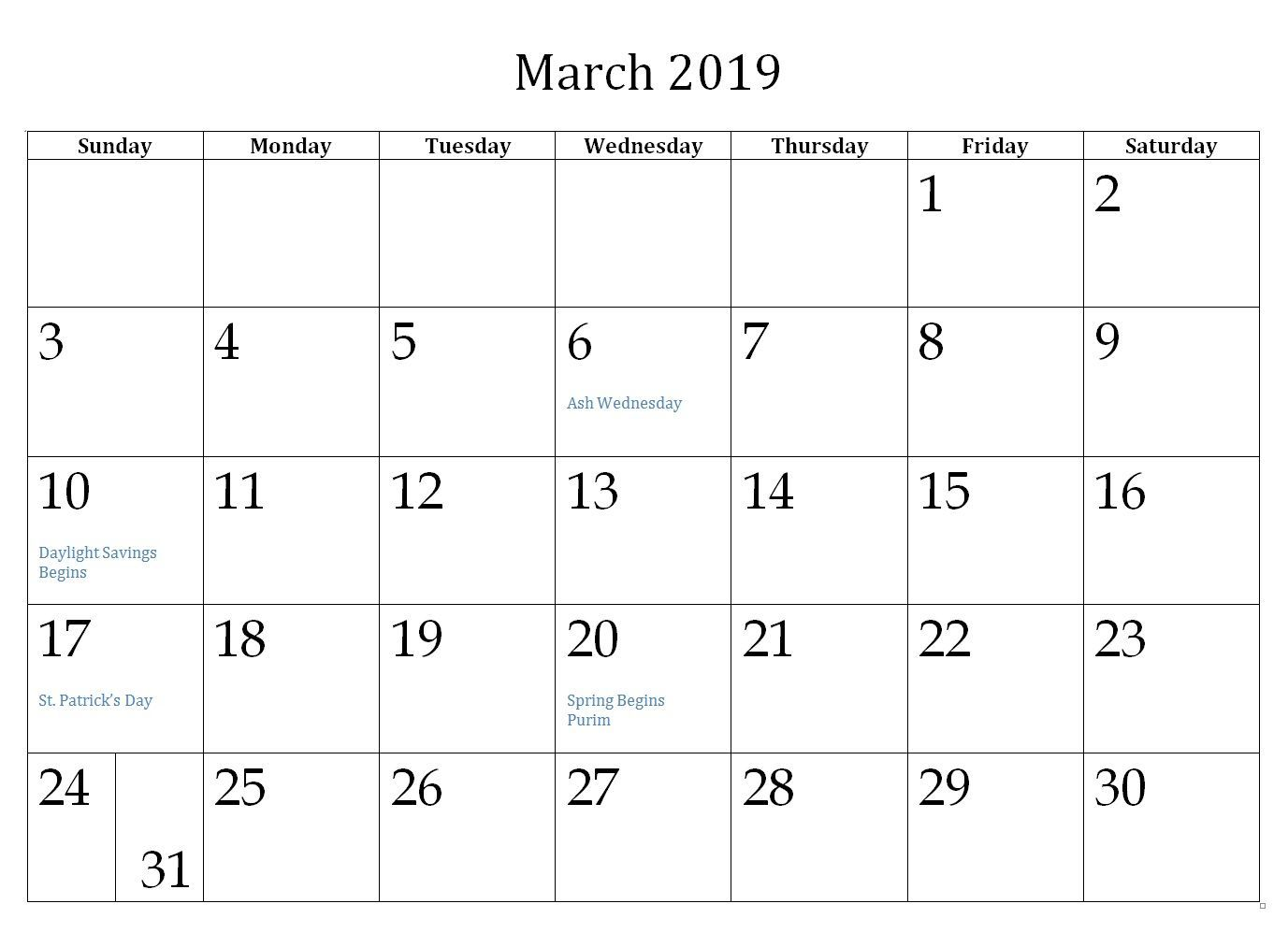Philippines Calendar for March 2019