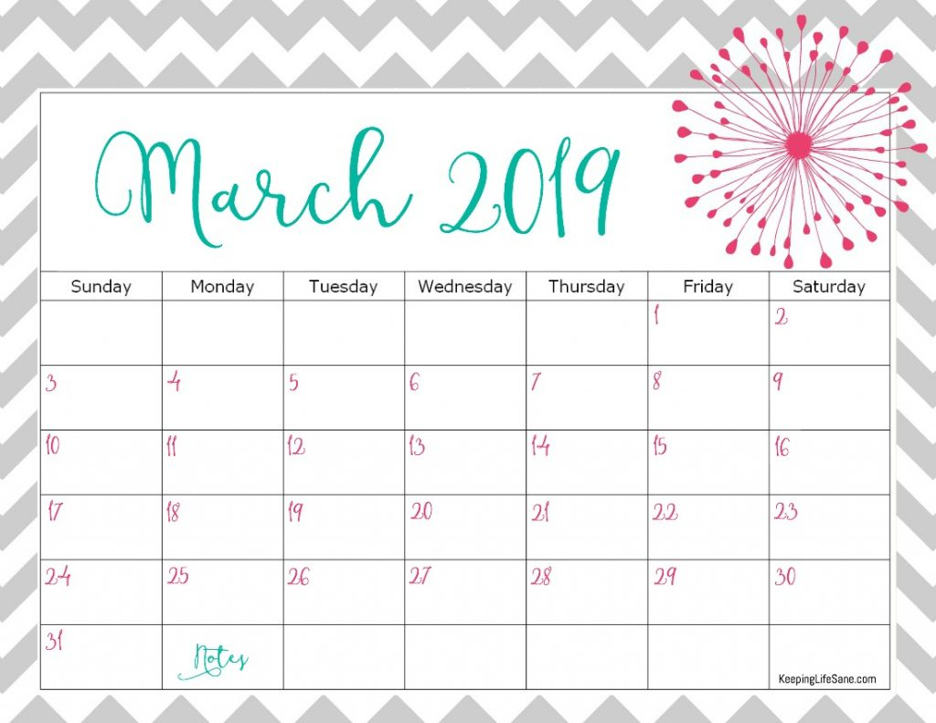 Pink Calendar For March 2019