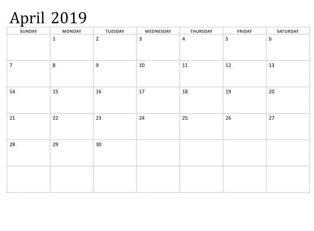 Print April 2019 Calendar Page