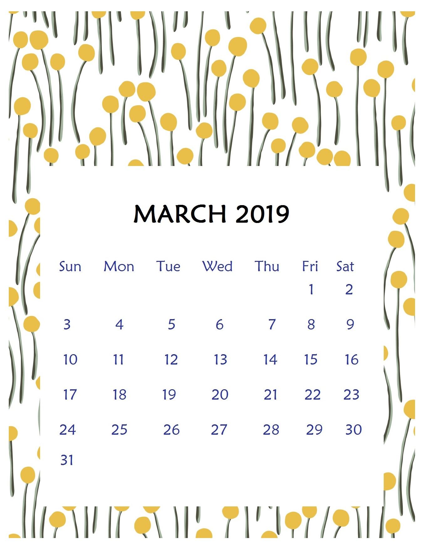 Print Beautiful March 2019 Wall Calendar