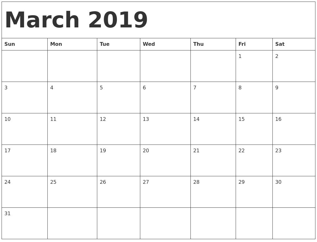 Print March 2019 Calendar Malaysia